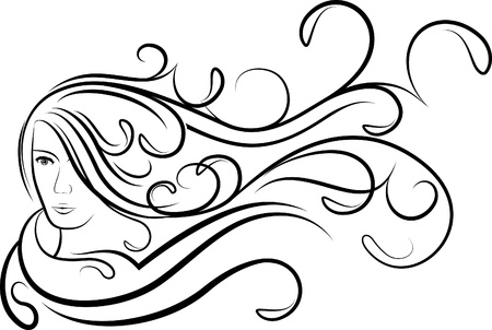 Girl with flutter hair.  Stock Vector - 10707259