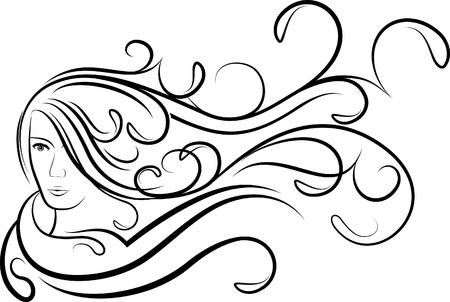 libbenő: Lány lebegés haját. Illusztráció