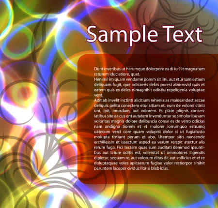 gaudy: Abstract template for brochure. Design with floral branch. Stock Photo