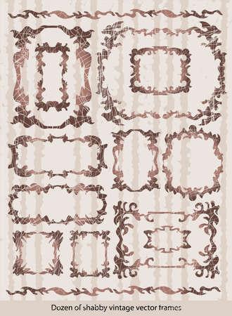 etiqueta: Dozen of vintage shabby frames Stock Photo