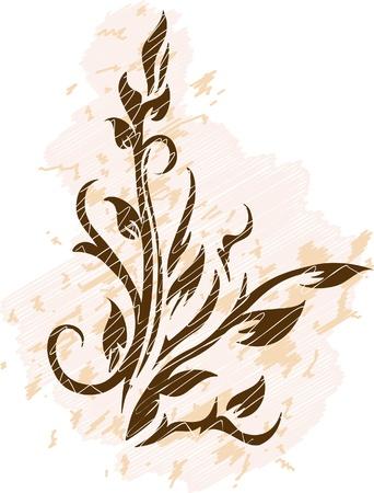 tarnished: Decorative branch on grunge background Stock Photo