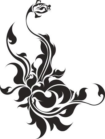 konturen: Grafik von Rose mit Bl�ttern. Isoliert auf wei�em Hintergrund.
