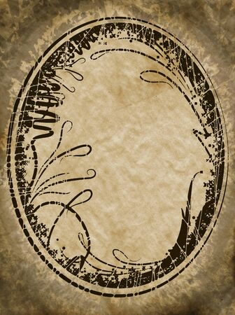 Vintage oval frame on aged background Stock Photo - 16650522