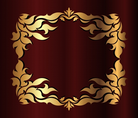 Gold frame on the dark red background photo