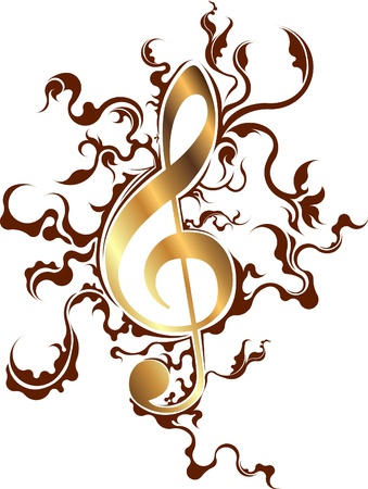 Abstract musical background with treble clef. photo