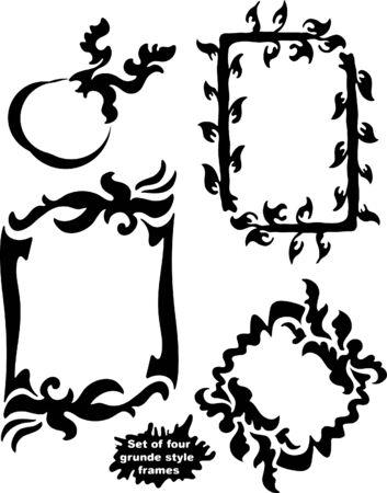 equals: Set of 4 grunge style frames.
