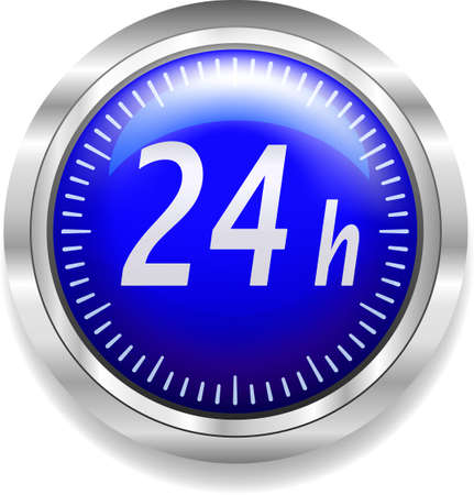 around the clock: 24 hours around the clock symbol on blue and silver Stock Photo