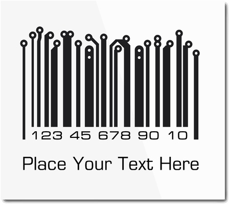 number code: Bar code in PCB-layout style.