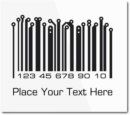 codigos de barra: Código de barras en el estilo de diseño de PCB. Foto de archivo