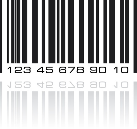Bar code label with reflection.  photo