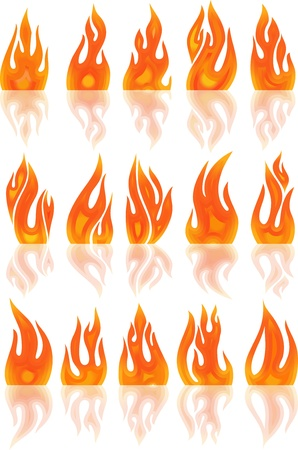 Collection of vector fires isolated on white photo