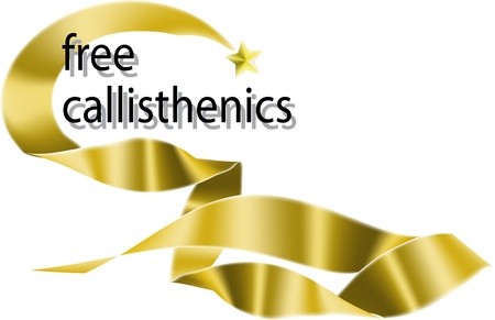 Free calisthenics, eurhythmics, aerobics design whith ribbon.  photo