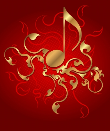 Musical background with gold note.  photo