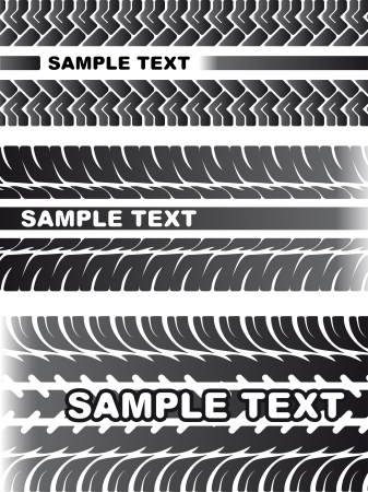 trail bike: A set of detailed tire prints for your design. Stock Photo