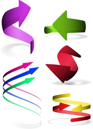 3 point perspective: Arrow icon set. Vector