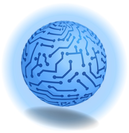 3D. High tech modern concept design. Blue ball, Earth in PCB-layout style with blue glow and shadow. Vector illustration. illustration