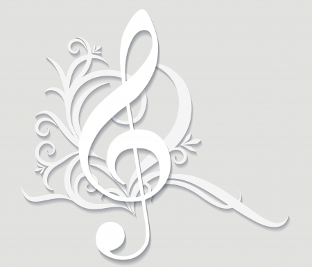 Abstract musical background with treble clef in cut of paper style