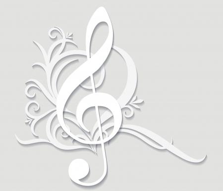 violinschl�ssel: Zusammenfassung musikalischen Hintergrund mit Violinschl�ssel in Schnitt von Papier-Stil