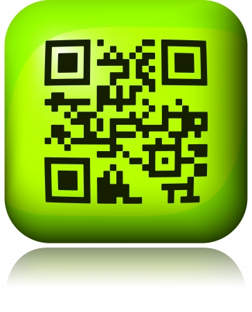qrcode: Green button with QR-code  Stock Photo