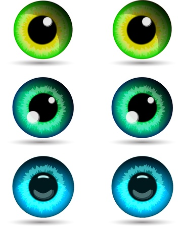 Set of three pair of eyes  Vector illustration  illustration