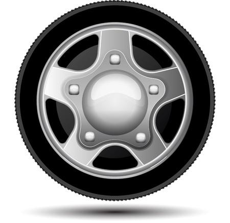 Car wheel. Vector illustration on white background Stock Photo