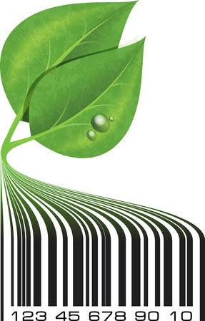 Conceptual ecological illustration barcode with green leafs and drops   illustration