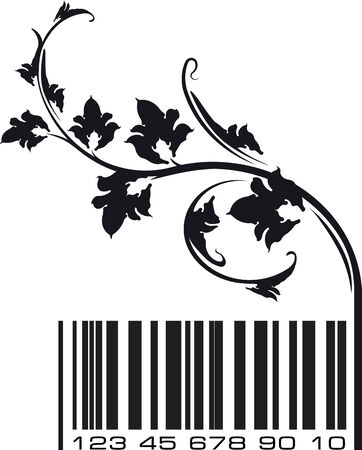 Conceptual ecological illustration barcode with floral branch   illustration