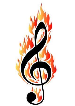 clave de sol: Clave de sol en la ilustración del fuego para el diseño o un tatuaje