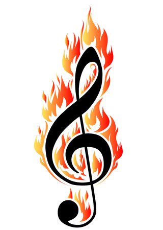 treble clef: Treble clef in fire   illustration for design or tattoo