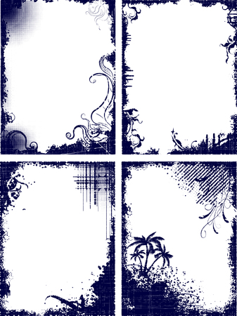 Set of four frames in grunge style  photo