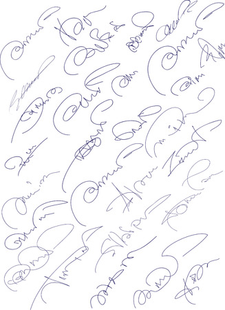 Collection of fictitious contract signatures  Autograph illustration   Stock Illustration - 24420148