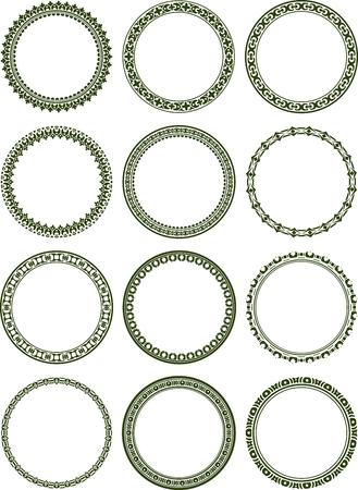 floral border: Dozen of elegant round frames