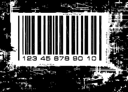 Barcode with grunge background photo