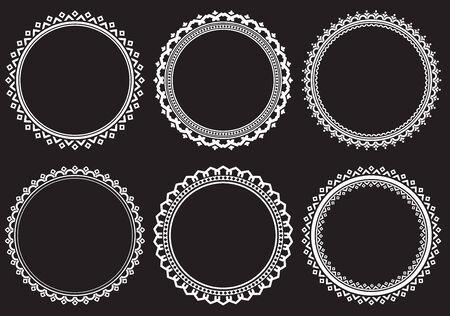 baroque border: Set of round frames on a black background Stock Photo