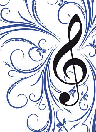 treble g clef: Musical decor  Stock Photo