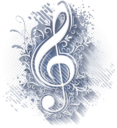 Abstract musical background with treble clef   photo