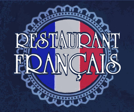 francais: Vintage label French restaurant