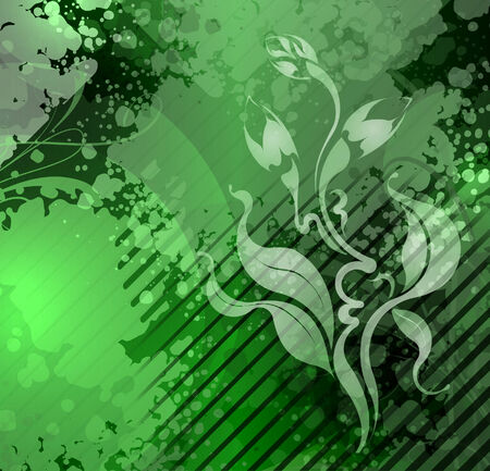 tarnished: Green background in a grunge style illustration   Stock Photo