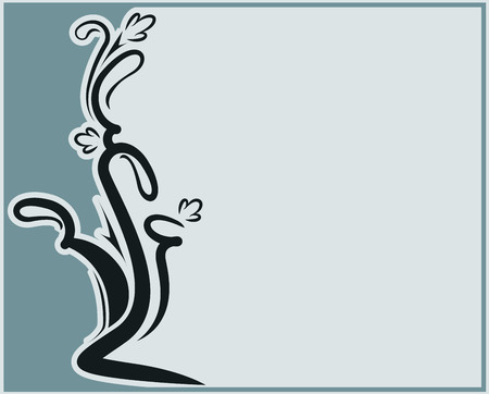 Abstract vector frame with branch and copyspace photo