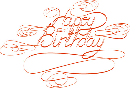 happy birtday: Handwriting text Happy Birtday with swirls.