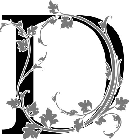 old victorian letter: Letter D with floral branch