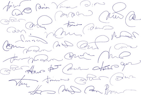 autograph: Collection of fictitious contract signatures. Autograph illustration. Stock Photo