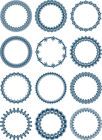 dozen: Dozen of elegant round frames Stock Photo