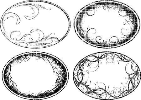 threadbare: Set of 4 grunge oval frames Stock Photo