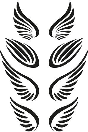 black angel: Set of wings Stock Photo