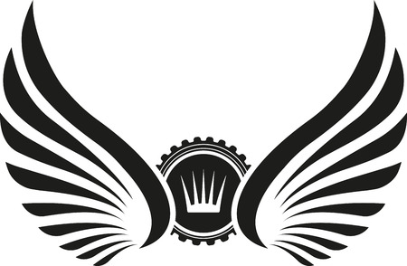 black wings: Heraldic design with wings and crown