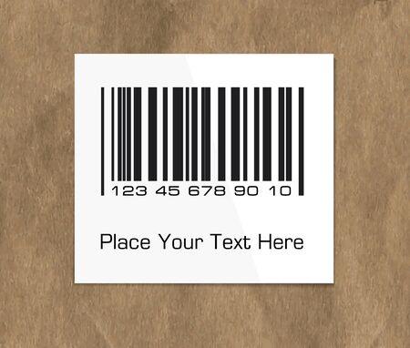 paper packing: Etiqueta de c�digo de barras en un papel de embalaje oscuro