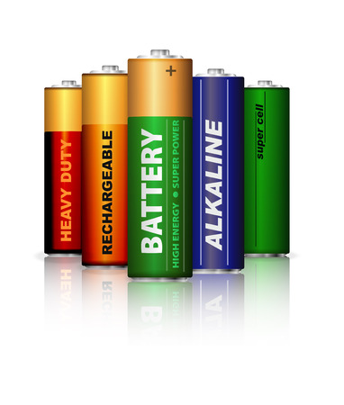 hydride: Set of AA batteries isolated on white Stock Photo
