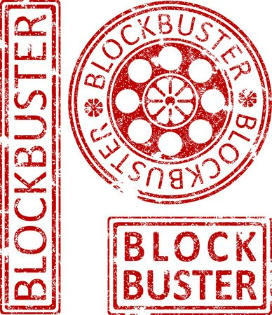 blockbuster: Blockbuster ruber stamps. Stock Photo