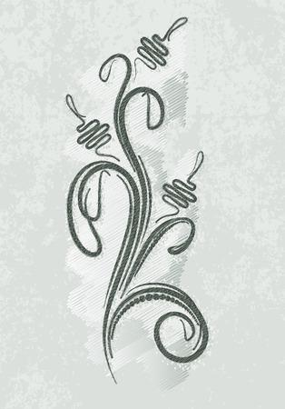 ringlet: Decorative branch on grunge background Stock Photo